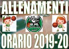 2019-20 ORARI ALLENAMENTI